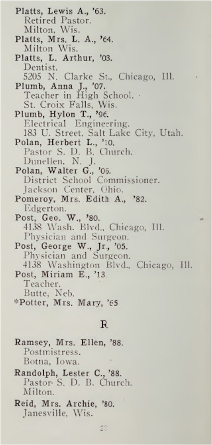 Alumni Directory Book for Genealogy